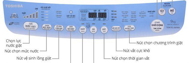 Hướng dẫn sử dụng bảng điều khiển máy giặt Toshiba AW-DC1005CV 9kg